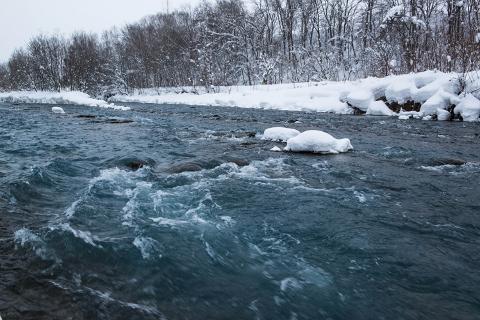 冬の急流を泳いで渡るのは無謀です。